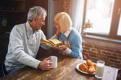 THey are a beautiful people looking to each other with love. Sh. Holds a plate full of sandwiches. He has put his left arm on her chick stock photo