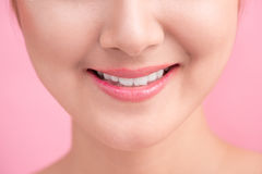 Beautiful Perfect Lips.  Beauty young asian woman Lips over whit. E background Stock Photography
