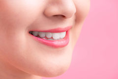 Beautiful Perfect Lips.  Beauty young asian woman Lips over whit. E background Stock Photos