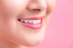 Beautiful Perfect Lips.  Beauty young asian woman Lips over whit. E background Royalty Free Stock Photo