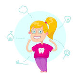 Beautiful, perfect smile,. Funny cartoon character. Vector illustration.Dental children illustration.Beautiful, perfect smile, healthy teeth Royalty Free Stock Image
