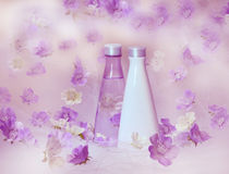Beautiful perfume background. With purple and white flowers stock illustration