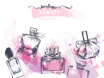 Beautiful perfume bottle, on watercolor background. Beautiful and fashion background. Vector Royalty Free Stock Photo