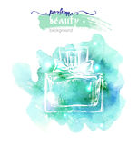 Beautiful perfume bottle, on watercolor background. Beautiful and fashion background. Vector . Stock Image