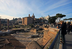 Beautiful perspective of the ancient ruins in central Rome Royalty Free Stock Images