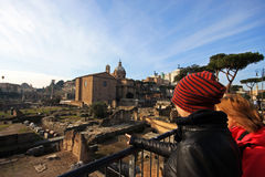 Beautiful perspective of the ancient ruins in central Rome Royalty Free Stock Photo