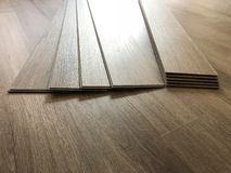 Beautiful perspective shot of the newly installed luxury floor . royalty free stock photography