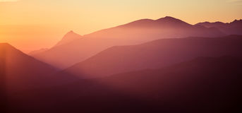 A beautiful perspective view above mountains with a gradient Stock Photos