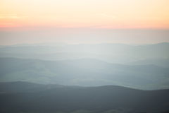 A beautiful perspective view above mountains with a gradient Royalty Free Stock Image