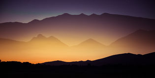 A beautiful perspective view above mountains with a gradient Stock Photography
