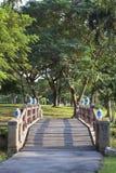 Beautiful perspective  wood bridge crossing water pool in public park Stock Photos