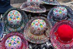 Beautiful Peruvian hats. On street market royalty free stock photos