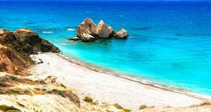 Best beaches of Cyprus - Petra tou Romiou, famous as a birthplac Stock Photography