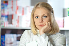 Beautiful pharmacist. Stock Photography