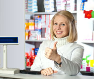 Beautiful pharmacist. Stock Photos