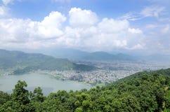 Beautiful Phewa lake and Pokhara city Stock Images