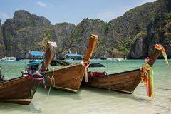 Beautiful Phi Phi tropical Island boat trip. Exotic Cliff. Krabi, Thailand. Stock Photo