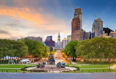 Beautiful philadelphia downtown skyline at sunset. USA Stock Images
