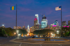 Beautiful Philadelphia skyline at sunset Stock Images