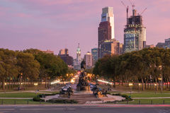 Beautiful Philadelphia skyline at sunset Stock Photos
