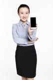 Beautiful phone salesman Royalty Free Stock Image