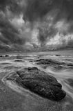 Dramatic BW Beach Scene Royalty Free Stock Photography