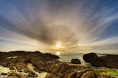 Stunning sun dog beach scene Stock Photo