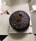 This is the beautiful photo of black chocolate flavoured cake in box... This is the beautiful photo of black chocolate flavoured cake in stock photography