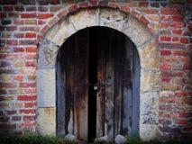 Beautiful photo of door texture. Door texture next to a collorfull brick wall Stock Photo