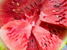 Beautiful photo  with  Fresh sliced watermelon  close-up. Natural background Royalty Free Stock Images