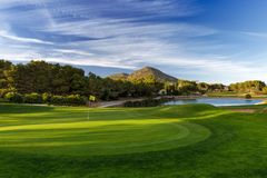 Golf course with trees, blue sky and mountains. royalty free stock image