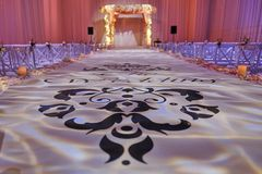 Beautiful photo of the Jewish Hupa , wedding putdoor . Beautifully registered Huppa with a set of flowers Royalty Free Stock Photos