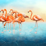 Beautiful photo manipulation of red flamingo at left side. Beautiful photo manipulation with a range of red flamingo at left side in the blue surreal desert with Stock Images