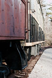 Beautiful photo of the old train and the railroad Stock Photo