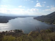 Beautiful photo taken from a chairlift in Carlos Paz in Cordoba Argentina royalty free stock image