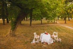 Beautiful photobooth in autumn city park Stock Photo