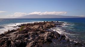 Attractive picture of beautiful cliffs in the ocean and the bursting waves near them under blue sky on island maui stock footage