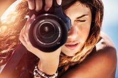 Free Beautiful Photographer Girl Stock Photography - 114372952