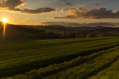 Beautiful photography of sunset in Poland Royalty Free Stock Photography