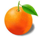 Beautiful photorealistic ripe and juicy orange with leaf Royalty Free Stock Photos