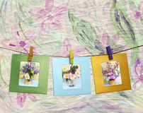 Beautiful photos of bouquets of flowers within a clothes pin Royalty Free Stock Photo