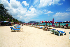 Beautiful phuket beach. Beautiful blue sea and sky phuket beach, patong beach Royalty Free Stock Photos