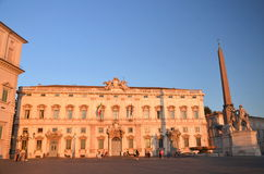 Beautiful Piazza del Quirinale in sunset light in Rome, Italy Royalty Free Stock Images