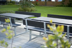 Beautiful picnic table. Urban picnic table really calm Royalty Free Stock Photography