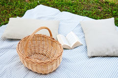 Beautiful picnic with tablecloth , pillows , book and food baske Royalty Free Stock Photography