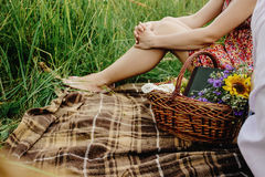 Beautiful picnic wicker basket with colorful bouquet fruits and Stock Image