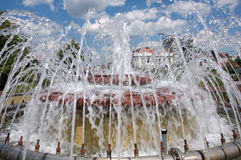 Beautiful, pictorial squirts of city fountain in Belgrade, Serbia Stock Image