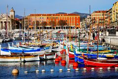 Port de Nice, France. Beautiful picture of colorful boats in the Nice Harbour Royalty Free Stock Image