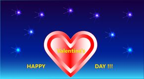 A beautiful picture with fireworks, a heart and a decorative inscription Happy Valentine`s day!!!. Vector illustration Stock Photos