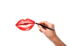 Beautiful picture with  hand and  crayon Royalty Free Stock Images